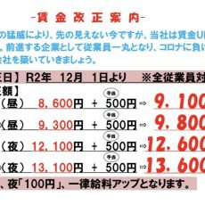 令和2年12月1日より賃金改正。